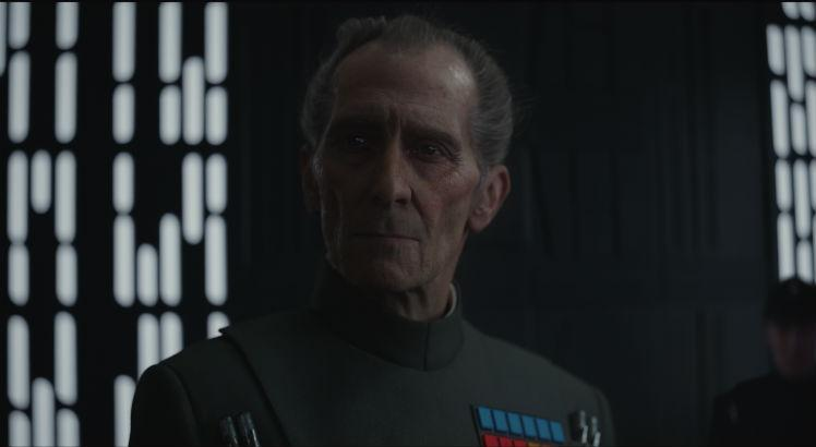 Peter Cushing como Tarkin, em Rogue One