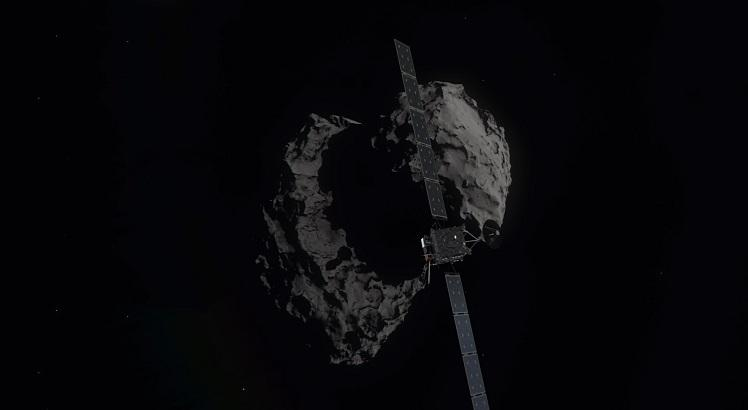 """This handout picture released on September 27, 2016 by the European Space Agency (ESA) shows a computer generated artist's impression of Rosetta shortly before hitting Comet 67P/Churyumov–Gerasimenko on September 30, 2016. Europe's Rosetta spacecraft was headed for a mission-ending crash on the comet it has stalked for two years, a dramatic conclusion to a 12-year odyssey to demystify our Solar System's origins. - RESTRICTED TO EDITORIAL USE - MANDATORY CREDIT """"AFP PHOTO /ESA/ATG medialab"""" - NO MARKETING NO ADVERTISING CAMPAIGNS - DISTRIBUTED AS A SERVICE TO CLIENTS    / AFP / ESA / HO / RESTRICTED TO EDITORIAL USE - MANDATORY CREDIT """"AFP PHOTO /ESA/ATG medialab"""" - NO MARKETING NO ADVERTISING CAMPAIGNS - DISTRIBUTED AS A SERVICE TO CLIENTS"""
