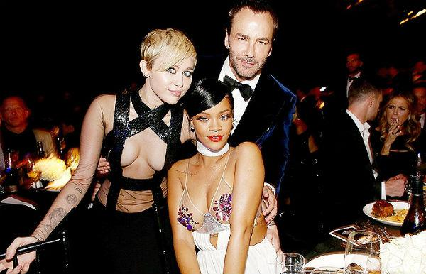 Miley, Rihanna e Tom Ford. Foto: Getty Images