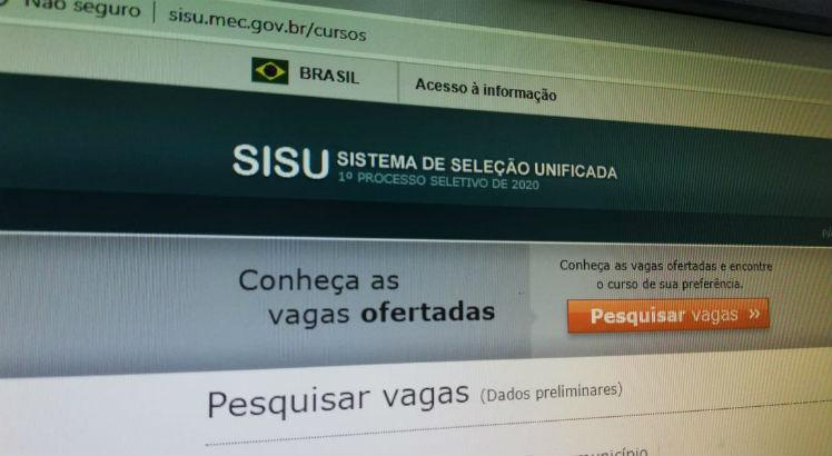 Foto da home do site do Sisu 2020