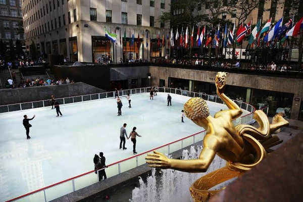 NEW YORK, NY - OCTOBER 14: People skate at the recently opened Rink at Rockefeller Center on October 14, 2014 in New York City. New York City's most famous ice rink opened for the 2014-15 season on Monday, October 13. The rink is open daily from 8:30 a.m. to midnight through April 2015. (Photo by Spencer Platt/Getty Images)